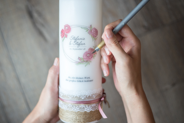 Hochzeitskerze vintage rosa