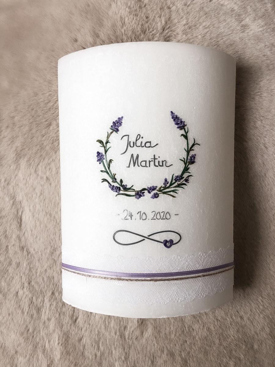 Hochzeitskerze Lavendel