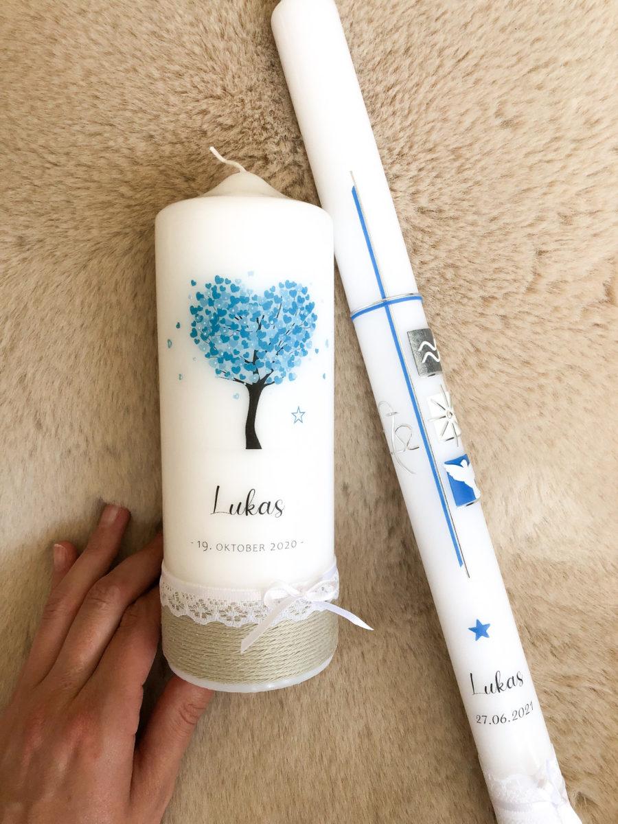 Tauf und Lebenskerze blau